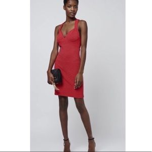 TOPSHOP Ribbed Red Bodycone Dress Sleeveless